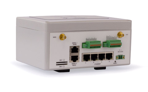 Front view of the GW2024PW-4E-GPIO-QFR-DC24 Ruggedised LTE Router.