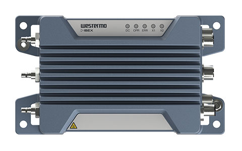 Front view of the Ibex-RT-330 EN 50155 Mobile LTE Router by Westermo.