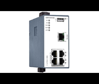 L105-S1 device server with a managed layer 2 industrial Ethernet switch by Westermo.