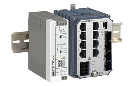 Left view of the Westermo PS-60 Power Supply and Lynx-5612 Substation Automation Ethernet Switch.