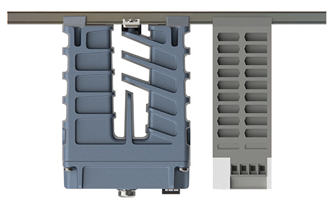 Top view of the Westermo PS-60 Power Supply and Lynx-5612 Substation Automation Ethernet Switch.