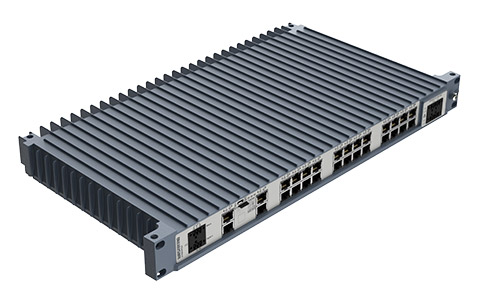 Westermo Industrial Rackmount Switch Redfox-5528-T28G top left angle view.