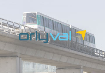 Orlyval logo and shuttle.